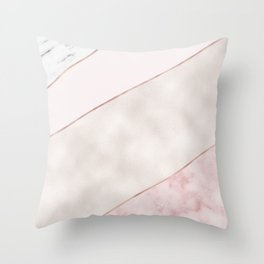 Spliced Mixed Pink Marble And Rose Gold Throw Pillow