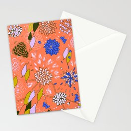 Orange Flower Pattern Stationery Cards