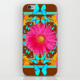 Coffee Brown Pink Flower Blue Butterfly Floral Art iPhone Skin