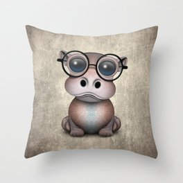 Cute Nerdy Baby Hippo Wearing Glasses Throw Pillow