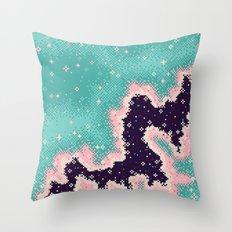 Pink and Mint Rift Galaxy (8bit) Throw Pillow