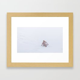 Minimalist orange house in a snowstorm in Iceland - Landscape Photography Framed Art Print