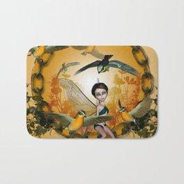 Cute fairy with songbirds Bath Mat