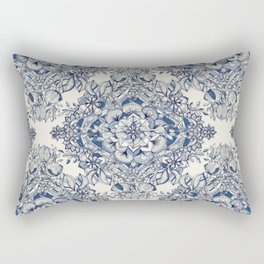 Floral Diamond Doodle in Dark Blue and Cream Rectangular Pillow