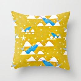 Sea unicorn - Narwhal yellow Throw Pillow