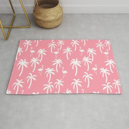Tropical flamingo and palm trees pattern by andrea lauren cute illustration summer patterns pink Rug