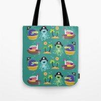 pirates Tote Bags featuring Pirates by Maria Jose Da Luz