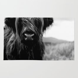 Scottish Highland Cattle Baby - Black and White Animal Photography Rug