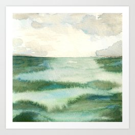Emerald Sea Watercolor Print Art Print
