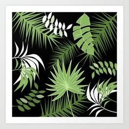 Black and White Green palm tree banana leaves summer tropical leaf print  Art Print