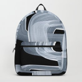 Ghostly Minimalist Abstract Painting Black And White Maze Brush Strokes Backpack