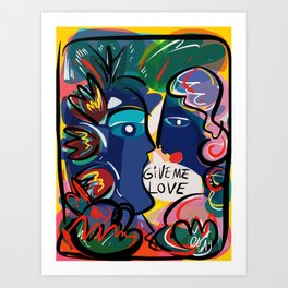 Give Me Love Graffiti Art Neo Expressionism Portrait  Art Print