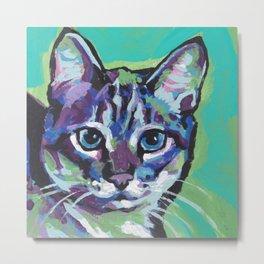 Fun TABBY CAT bright colorful Pop Art painting by Lea Metal Print