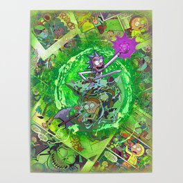 Rick & M - Dungeons and Dragons Comic Collage Portal Comic Book Art Poster
