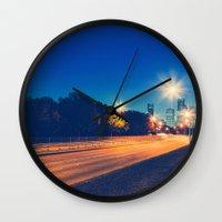 houston Wall Clocks featuring Houston by GF Fine Art Photography