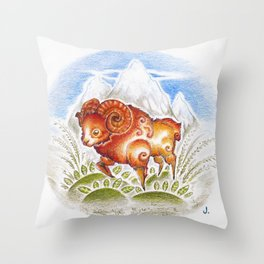 Red Ram Throw Pillow