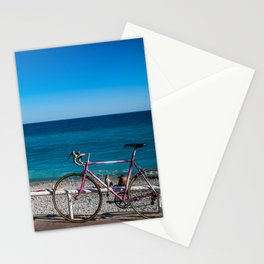 Beach and the bike - Nice, France summer Stationery Cards