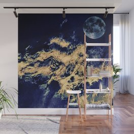 blue moon and clouded night sky Wall Mural