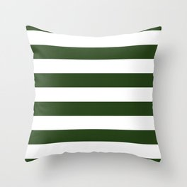 Large Dark Forest Green and White Cabana Tent Stripes Throw Pillow