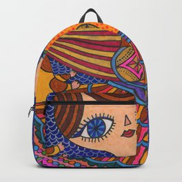 girl with cat in blue Backpack