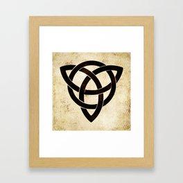 Celtic knot on old paper Framed Art Print