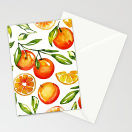 oranges watercolor tangerine fruit print Stationery Cards