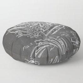Airplane Jet Engine Patent - Airline Engine Art - Black Chalkboard Floor Pillow