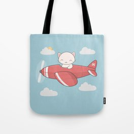Kawaii Cute Flying Cat Tote Bag