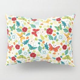 Butterly Garden on White Pillow Sham