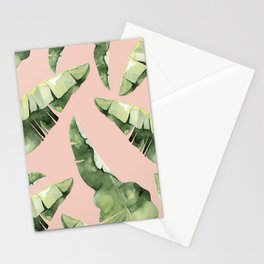 Banana Leaves 2 Green And Pink Stationery Cards