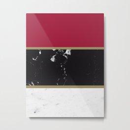 Marble Mix Stripes #2 #black #white #red #gold #decor #art #society6 Metal Print