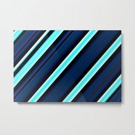 Pretty Blue Striped Pattern Metal Print
