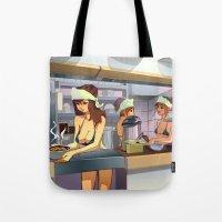 ramen Tote Bags featuring Ramen Shop by F. Camiloza