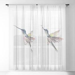 Flying Little Hummingbird Sheer Curtain