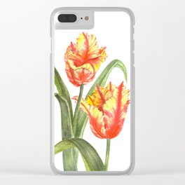 Yellow Parrot Tulips Clear iPhone Case