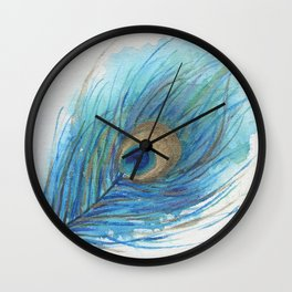 Colorful Peacock Feather Acrylic Painting  Wall Clock