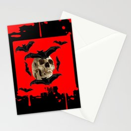 BAT INFESTED HAUNTED SKULL ON BLEEDING HALLOWEEN ART Stationery Cards