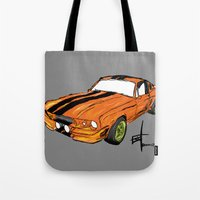 mustang Tote Bags featuring Mustang by Portugal Design Lab