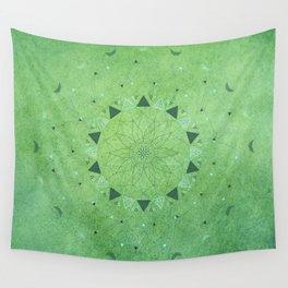 Emerald Daisy Mandala Wall Tapestry
