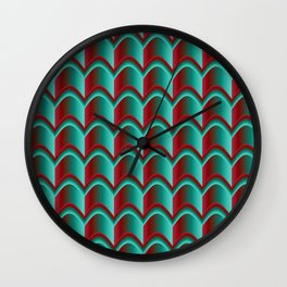 Abstract Green&Red Pattern Wall Clock