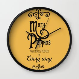 Mary Poppins poster, minimalist movie, Julie Andrews cult film, alternative affiche, Supercalifragi Wall Clock