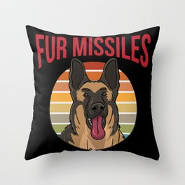Dog German Shepherd Fur Missels K9 Throw Pillow