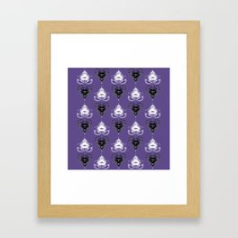 Ornament medallions - Black and white fractals on ultra violet Framed Art Print