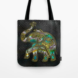 Gold Framed Elephant on Colorful Abalone decor Tote Bag