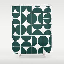 Mid Century Modern Geometric 04 Dark Green Shower Curtain