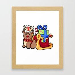 Santa Slide Christmas Reindeer gift present Framed Art Print