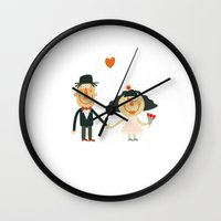 wedding Wall Clocks featuring Wedding by Miguel Ordonez