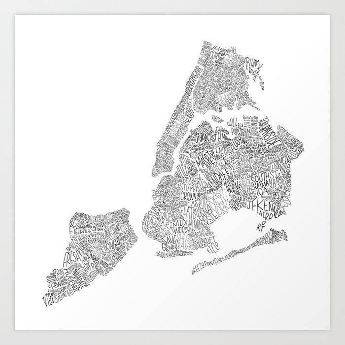 New York City Boroughs - Hand lettered map Kunstdrucke