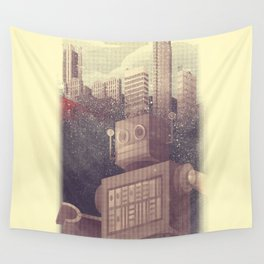 A City Snow-Bot Wall Tapestry