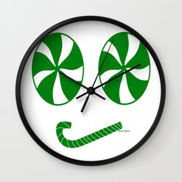 Grumpy Green Peppermint Emoji Face - Rasha Stokes Wall Clock